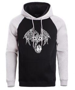 Mosaic Dragon Men Hoodie Sweatshirt Male Game Of Thrones Hoodies Winter Fleece Sweatshirts Warm Pullover Mens 5