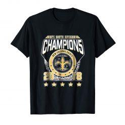 NFC South Division Champions 2018 New Orleans Saints Black T Shirt S 3XL