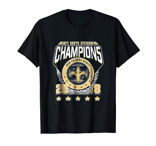NFC South Division Champions 2018 New Orleans Saints Black T Shirt S 3XL