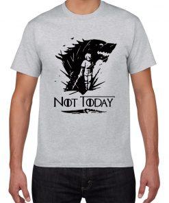 NOT TODAY ARYA STARK GAME OF THRONES T Shirt Faceless Men t shirt House Stark cotton 2