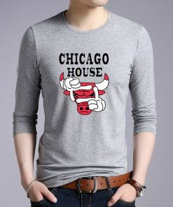 New Autumn Cotton Funny T Shirts Long Sleeves T shirt Men Fashion Chicago Bull Print White 1