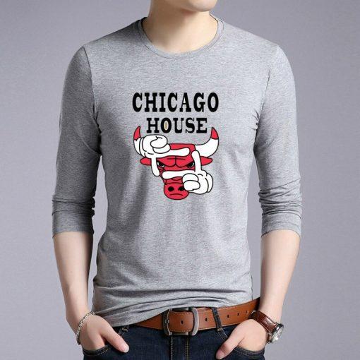 New Autumn Cotton Funny T Shirts Long Sleeves T shirt Men Fashion Chicago Bull Print White 1