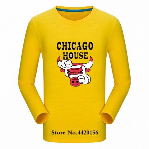 New Autumn Cotton Funny T Shirts Long Sleeves T shirt Men Fashion Chicago Bull Print White 2