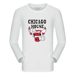 New Autumn Cotton Funny T Shirts Long Sleeves T shirt Men Fashion Chicago Bull Print White