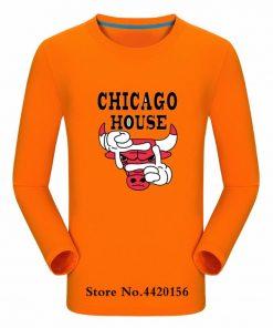 New Autumn Cotton Funny T Shirts Long Sleeves T shirt Men Fashion Chicago Bull Print White 3