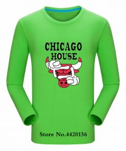 New Autumn Cotton Funny T Shirts Long Sleeves T shirt Men Fashion Chicago Bull Print White 4