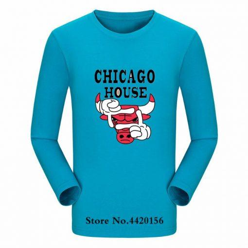New Autumn Cotton Funny T Shirts Long Sleeves T shirt Men Fashion Chicago Bull Print White 5