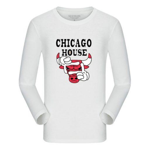 New Autumn Cotton Funny T Shirts Long Sleeves T shirt Men Fashion Chicago Bull Print White