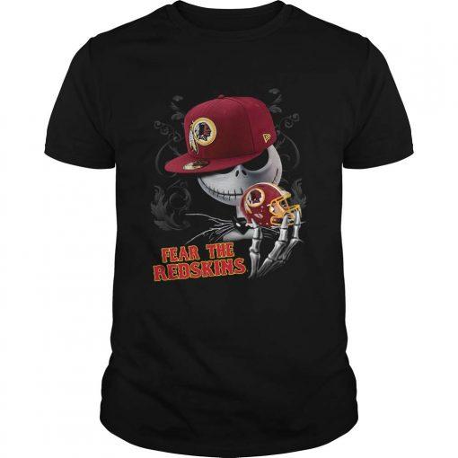New Collection Jack Skelington Fear The Redskins Shirt T Shirt For Women Men Unisex men women