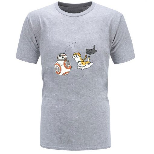 New Coming Mens Top T shirts Star Wars Cat And BB8 Game New Tshirts Slim Fit 1
