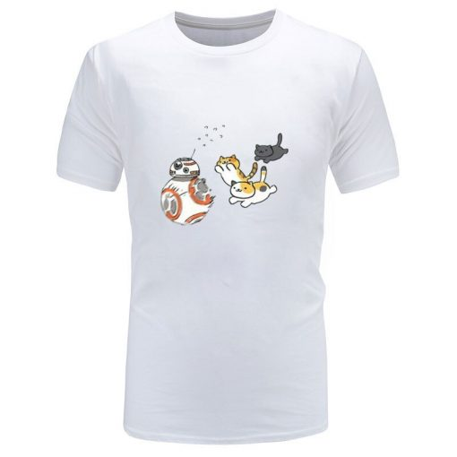 New Coming Mens Top T shirts Star Wars Cat And BB8 Game New Tshirts Slim Fit 3