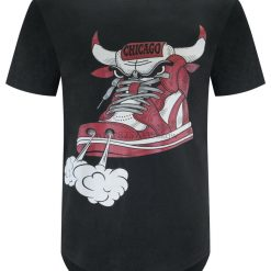 New Men Chicago Shoe Bull Red White Hip Hop Longline T Shirt Black Sizes S 2Xl