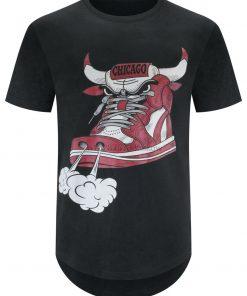 New Men Chicago Shoe Bull Red White Hip Hop Longline T Shirt Black Sizes S 2Xl