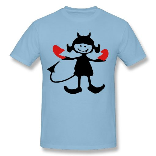 New Mens High Quality Cotton bronken heart devil girl DIY T Shirts O Neck Short Sleeve