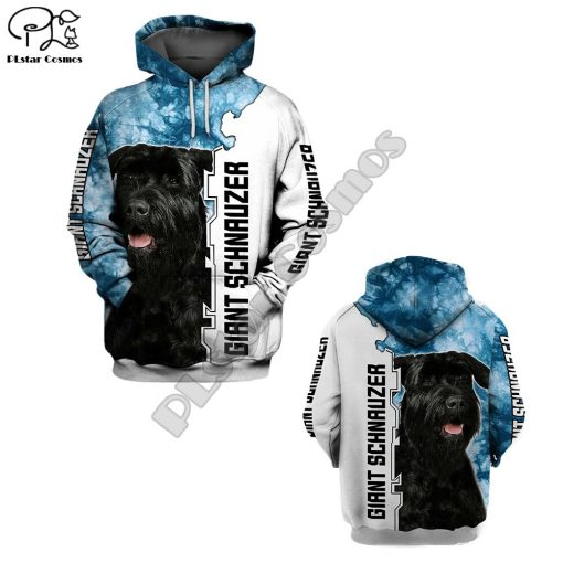 New Mens Unisex funny Giant schnauzer 3d dogs print zipped hoodie long sleeve Sweatshirts jacket autumn 1