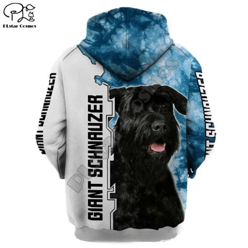 New Mens Unisex funny Giant schnauzer 3d dogs print zipped hoodie long sleeve Sweatshirts jacket autumn 2