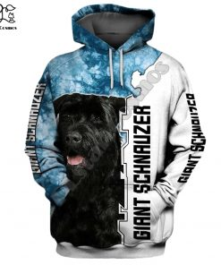 New Mens Unisex funny Giant schnauzer 3d dogs print zipped hoodie long sleeve Sweatshirts jacket autumn