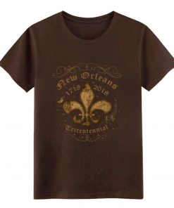 New Orleans New Orleans Tricentennial Decorative Vintage Gold t shirt Designs Short Sleeve Crew Neck Pictures 4