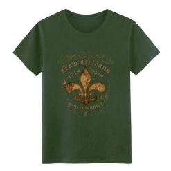 New Orleans New Orleans Tricentennial Decorative Vintage Gold t shirt Designs Short Sleeve Crew Neck Pictures 5