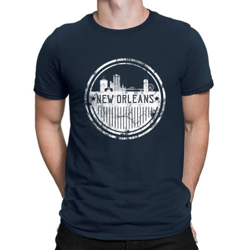 New Orleans Old school skyline T shirts Interesting 100 cotton Creature tshirt for men Costume Family