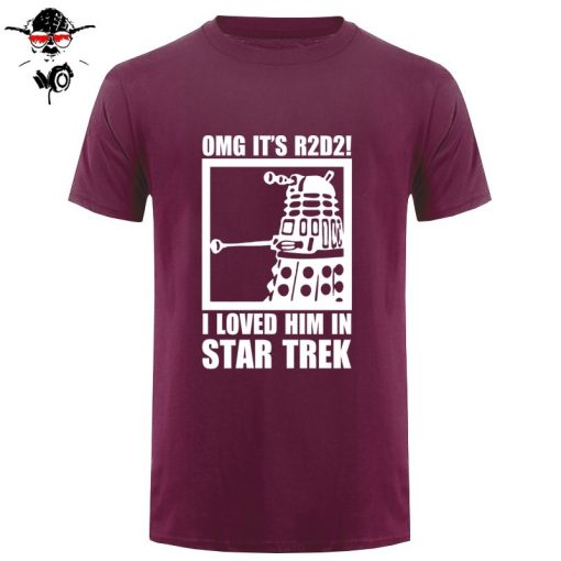 New Summer Funny Tee OMG It s R2D2 Dalek Star Wars Dr Who Trek Cotton T 3