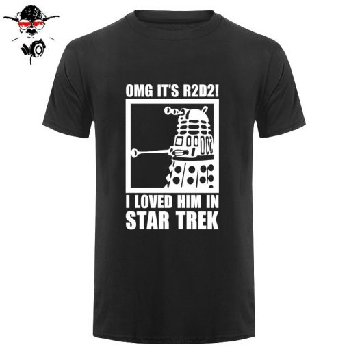 New Summer Funny Tee OMG It s R2D2 Dalek Star Wars Dr Who Trek Cotton T