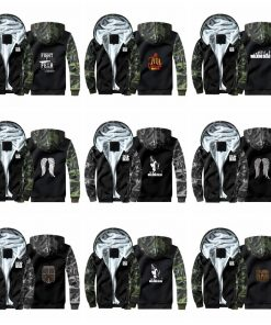 New TV The Walking Dead Camouflage Hoodie Sweatshirts Winter Thicken Hooded Coat Cosplay Warm Men Clothing 1