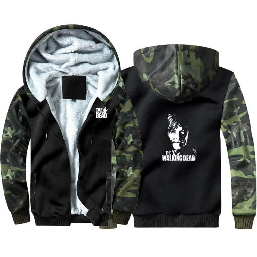 New TV The Walking Dead Camouflage Hoodie Sweatshirts Winter Thicken Hooded Coat Cosplay Warm Men Clothing