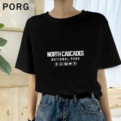 North Cascades National Park Washington Aesthetic Streetwear Women s Tops T Shirt Short Sleeve Female Tshirts