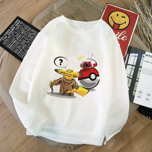 Pokemon Baby Yoda Shirt Aesthetic Harajuku Hoodies Sweatshirt Women Hoodies Women Kawaii Clothes Sweat Femme Thicken