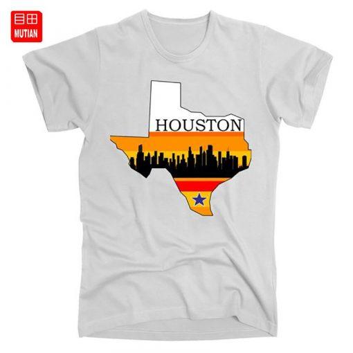 Retro Houston Texas Baseball Throwback T Shirt astro Baseball Houston Flag Skyline Big City Texas Houston 1
