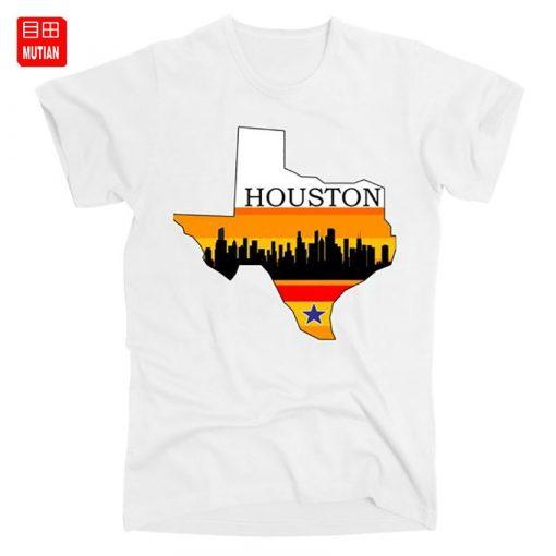 Retro Houston Texas Baseball Throwback T Shirt astro Baseball Houston Flag Skyline Big City Texas Houston
