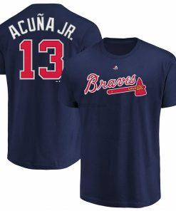 Ronald Acuna Jr Atlanta 13 Braves Youth Player Name Number T Shirt Navy