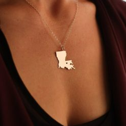SALE 1 Louisiana Necklace Louisiana Jewelry State Necklace Stocking Stuffer State Jewelry Baton Rouge New Orleans 1