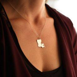 SALE 1 Louisiana Necklace Louisiana Jewelry State Necklace Stocking Stuffer State Jewelry Baton Rouge New Orleans 2