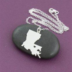 SALE 1 Louisiana Necklace Louisiana Jewelry State Necklace Stocking Stuffer State Jewelry Baton Rouge New Orleans