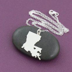 SALE 1 Louisiana Necklace Louisiana Jewelry State Necklace Stocking Stuffer State Jewelry Baton Rouge New Orleans 3