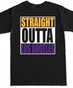 STRAIGHT OUTTA LOS ANGELES LA LAKERS BASKETBALL PURPLE GOLD MAMBA MENS T SHIRT