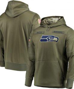 Seattle Sweatshirt Seahawks Salute to Service Sideline Therma Performance Pullover American football Hoodie Olive