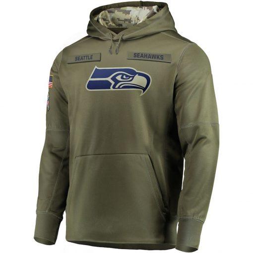 Seattle Sweatshirt Seahawks Salute to Service Sideline Therma Performance Pullover American football Hoodie Olive 3