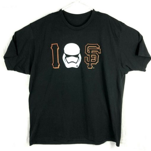 Sf Giants Mens Xl I Love Sf T Shirt Stormtrooper San Francisco Black For Youth Middle