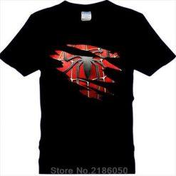 Spider man Logo Print T shirt Men Black Superhero Fashion T Shirt Spiderman Tees Tops Boy 1