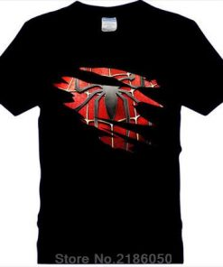 Spider man Logo Print T shirt Men Black Superhero Fashion T Shirt Spiderman Tees Tops Boy 1