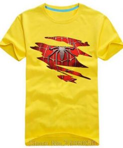 Spider man Logo Print T shirt Men Black Superhero Fashion T Shirt Spiderman Tees Tops Boy 2