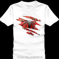 Spider man Logo Print T shirt Men Black Superhero Fashion T Shirt Spiderman Tees Tops Boy