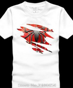 Spider man Logo Print T shirt Men Black Superhero Fashion T Shirt Spiderman Tees Tops Boy