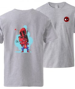 Spiderman Deadpool Tshirts Men Summer Short Sleeve Sportswear Cotton Top 2020 Man Brand Loose Casual Tshirt 1
