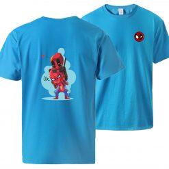 Spiderman Deadpool Tshirts Men Summer Short Sleeve Sportswear Cotton Top 2020 Man Brand Loose Casual Tshirt