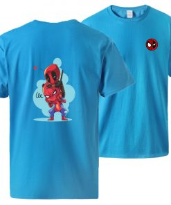 Spiderman Deadpool Tshirts Men Summer Short Sleeve Sportswear Cotton Top 2020 Man Brand Loose Casual Tshirt