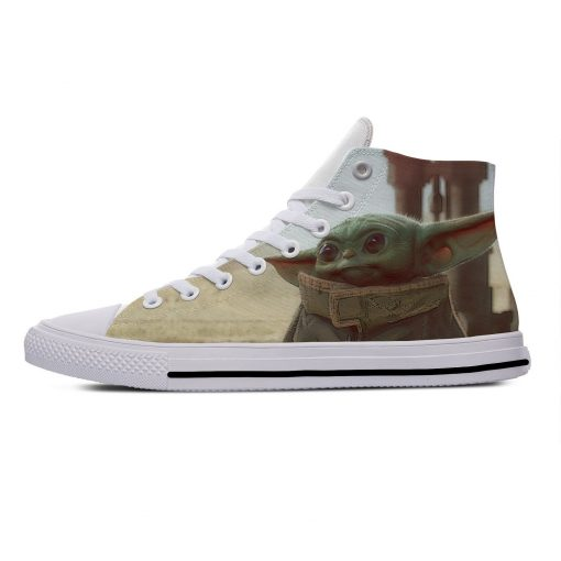 Star Wars Baby Yoda Mandalorian Cute Funny Vogue Casual Canvas Shoes High Top Lightweight Breathable 3D 1